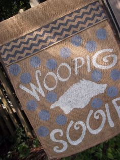 Woo Pig Sooie Arkansas Razorback Hog Fan Burlap by ELouiseBoutique, $20.00
