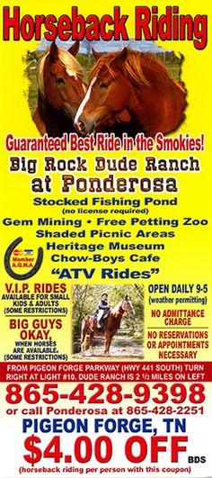 Big Rock Dude Ranch at Ponderosa Pigeon Forge TN - Gatlinburg / Pigeon Forge area's premier horseback riding and outdoor adventure destination.