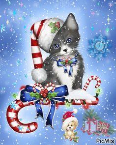Nordic Christmas, Merry Christmas And Happy New Year, Christmas Cats, Vintage Christmas, Christmas Time, Christmas Ornaments, Animated Christmas Pictures, Merry Christmas Animation, Vibeke Design