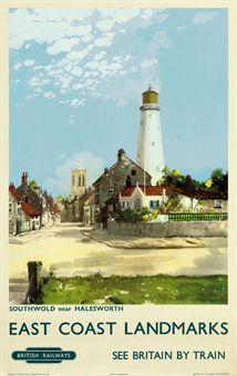 East Coast Landmarks - Southwold near Halesworth, Suffolk - British Railways by Frank Henry Mason, Posters Uk, Train Posters, Railway Posters, Vintage Travel Posters, Poster Prints, Vintage Ski, City By The Sea, British Travel, Trains