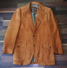 Vintage SEARS LEATHER SHOP Rust Suede Leather Cowboy Sport Coat Blazer Men's 40R #SearsTheLeatherShop #TwoButton