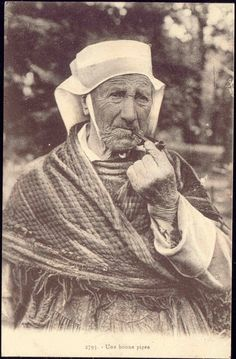 WOMEN  PIPE SMOKING | Details about France, Old Pipe Smoking Woman, Costumes (1920s)