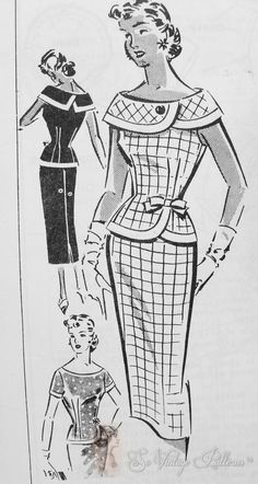 Stunning 2 PC Slim Dress Pattern Gorgeous Almost Off Shoulders Wide Collar Nip In Waist Pencil slim Skirt Perfect Daytime or Evening Patt-O-Rama 1334 Vintage Sewing Pattern Bust 32 Factory Folded Moda Vintage, Vintage Mode, Style Vintage, Vintage Inspired, Robes Vintage, Vintage Dresses, Vintage Outfits, 1950s Dresses, Vintage Clothing