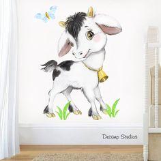 Watercolor Farm Animals Nursery Decal Baby Goat Wall Art Sticker Kids Barnyard Bedroom Room Decor