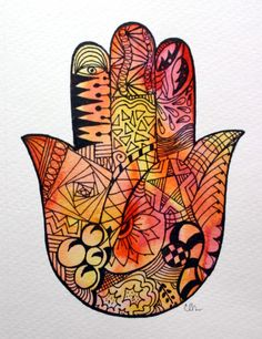 Watercolor card -  Zentangle Hamsa Hand,  Etsy