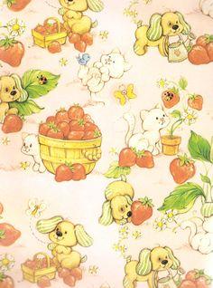 1980s vintage Strawberry Shortcake gift wrap
