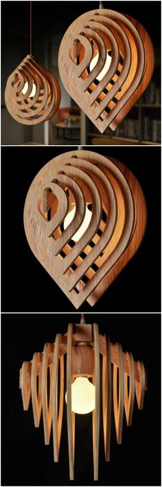Amazing wooden pendant lamp with water drop design, not to buy, only for crafters…