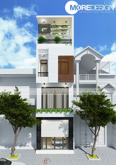 Thiết kế nhà phố diện tích 4x14m (Q.3-TP.HCM) Home Room Design, Narrow House, Street House, Tropical Houses, Facade House, House Rooms, Building Design, Townhouse, Luxury Homes