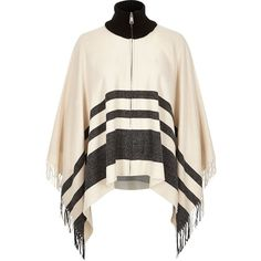 River Island Beige stripe zip-up blanket cape ($50) ❤ liked on Polyvore featuring outerwear, accessories, beige, capes / ponchos, women, river island, cape coat, white cape, cape poncho and white poncho