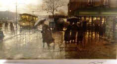 Luigi Loir (1845-1916) - A rainy day in Paris