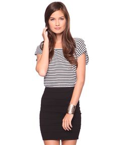 i love stripes and pencil skirts!