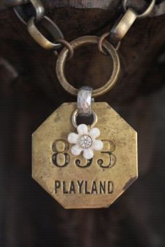 Vintage Playland 853 Metal Tag Necklace by BelleVia on Etsy, $48.00