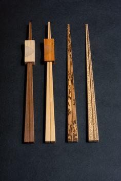 Kyo Saga Bamboo chopsticks in 4 styles Kyo Saga Bamboo chopsticks 24cm from left, 1 Smoke $22 and Chopsticks stand, Hinoki wood $10 2 White $18 and Chopsticks stand, Bamboo $10 3 Mon $20 4 Sesame $20 Purchase here