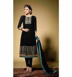 Make Heads turn at any party with this lovely Black georgette partywear salwar suit. Exciting Zari, Resham embroidery with Stone work & Patch Patta designing is done to increase the style quotient.  Lovely Sleeves & neck designing adds more to this lovely dress. A beautiful Salwar, Churidar Dupatta & an inner (Astar / Lining ) completes the look.