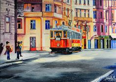 Prague - Old Tram ( 2272 ) riding in Masarykovo nabr. Oil on Canvas - 70 x 50  by Anett Komjathy