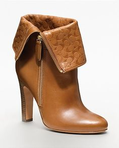 COACH Halia High Heel Signature Embossed Bootie - Boots - Shoes - Shoes - Bloomingdale's