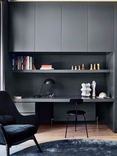 East Malvern House by Made By Cohen + Penny Kinsella Architects - Australian Interior Design Awards office design Mesa Home Office, Home Office Space, Home Office Desks, Home Office Furniture, Small Office, Grey Office, Study Office, Office Workspace, Office Spaces