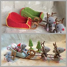 Christmas Mice. Santa's Sleigh pattern by Uljana Semikrasa, This pattern is one pdf file with detailed instructions for the mice, a sleigh, presents, trees, candy cane and a ladder. The pattern is written in English using US crochet terminology. Instructions are easy to follow if you are familiar with basic crochet techniques and pictures are included.
