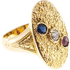 Preowned Victorian Ruby Sapphire Diamond Gold Textured Signet Ring ($2,095) ❤ liked on Polyvore featuring jewelry, rings, blue, fashion rings, gold diamond rings, gold ruby ring, pinky ring, gold ring and sapphire rings