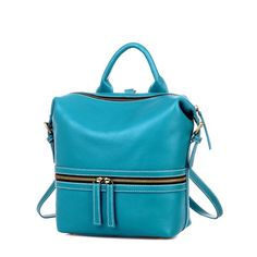 Square Calfskin Casual Backpacks/Sling Bags/Portable Bags Blue European and American Style For Ladies