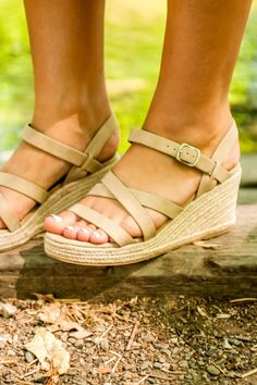 ff9ad32a6d2 Women s Soda Brand Strappy Taupe Espadrille Wedge Sandals Women s Wedges