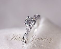 Gorgeous VS Moissanite Ring VS Accent Diamonds 14K White Gold Wedding Ring/ Engagement Ring / Promise Ring