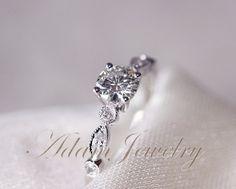 Gorgeous VS Moissanite Ring VS Accent Diamonds 14K White Gold Wedding Ring/ Engagement Ring / Promise Ring