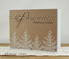 Handmade Christmas card with white trees stamped on kraft paper. Homemade Christmas Cards, Christmas Cards To Make, Xmas Cards, Homemade Cards, Holiday Cards, Christmas Wrapping, Christmas Diy, Merry Christmas, Karten Diy