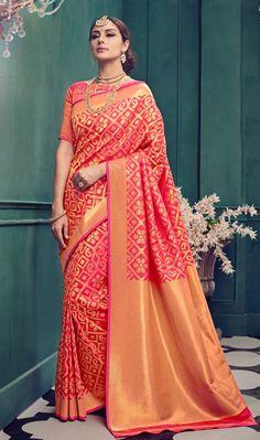 f021a2ae47e2d0 Exceptional Peach Color Kanchivaram Silk Weaving Designer Party Wear Saree  Silk Saree Kanchipuram, Georgette Sarees