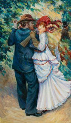 Optical illusions in art, by Oleg Shuplyak, {Dancing Renoir} Optical Illusion Paintings, Art Optical, Optical Illusions, Illusion Kunst, Illusion Art, Albrecht Durer, Op Art, Image Halloween, Hidden Images