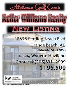 28835 Perdido Beach Blvd OB...MLS# 217853...$195,500...2 Bed 2 Bath.. Highly sought after Ole River 2 bedroom 2 bath. Kitchen and baths have beautiful granite counter tops. Large spacious living/dining area. Beautifully furnished. An unobstructed view of the gulf. First come first serve boat slips, assigned parking, and deed beach access....this one won't last long!! Please Contact: Wynette Long Haviland @205-837-2999
