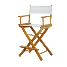 """Casual Home 30"""" Director's Chair Honey Oak Frame-White Canvas - 230-05/021-29"""