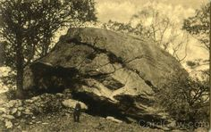Cochegan Rock = This great natural curiosity, is a huge mass of crystalline granite situated in the town of Montville, CT, on the farm of Mr. Newell Johnson. The dimensions of the rock, as given by him, are as follows: northwest side, forty-six feet; northeast, fifty-eight; southeast, forty-five; southwest, seventy. Max height, approximately, sixty feet; approximate cubic contents, 70 thousand cubic feet; approximate weight, about 6000 tons. It derives its name from a Mohegan Indian.