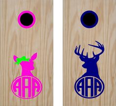 """Includes Rings! The doe measures 14"""" wide x 21"""" Tall, The buck measures 13.5"""" wide x 26"""" tall. You can pick the colors, make his blue and the girls pink with a red bow tie. Just let us know the information so we can ship it out. Fully customizable, custom text, custom color per board! Give your boards the professional painted look. Our decals are sharp, crisp and easy to install they will look like you spent hours on the detail but you only spent minutes. Fully customizable send us an email if y Cornhole Board Decals, Custom Cornhole Boards, Cornhole Set, Monogram Decal, Monogram Initials, Bag Toss Game, Camping, Monogram Wedding, Craft Fairs"""
