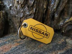 NISSAN Key ring Genuine leather key chain 398 Thick Leather, Natural Leather, Leather Keyring, Split Ring, Cowhide Leather, Key Rings, Laser Engraving, Nissan, Personalized Items