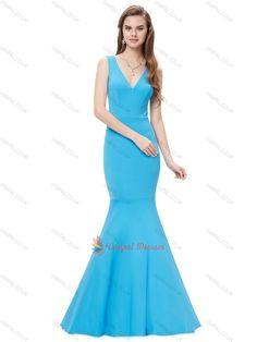 90.00$  Buy here - http://vicqj.justgood.pw/vig/item.php?t=gdb5aa25575 - Elegant Blue Mermaid V-neck Sleeveless V-back Floor Length Evening Dresses 90.00$
