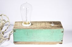 box lamp. love this idea. making a lamp out of anything. could be a stack of books, a box, an old stereo. Pulley Light, Lamp Light, Light Bulb, Industrial House, Modern Industrial, Make A Lamp, Turquoise Painting, Edison Lamp, Light Project