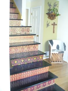 stenciled stairs, another view.Could do s sports theme for basement Decor, Hallway Paint Colors, Room, Home Projects, Hallway Paint, Home Decor, Stenciled Stairs, Flooring, Stairs