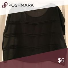 Black nylon shirt See-through black nylon flowy shirt with three textured horizontal stripes. Great condition, no holes or snags! Forever 21 Tops Blouses