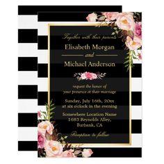 Floral Wedding Invitations Modern Vintage Pink Floral Stripes Formal Wedding Card