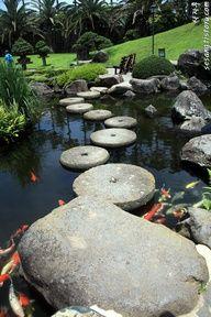 Botanical Garden in Jeju Island, Korea. The round stones in the water garden was the bridge to cross.This garden had the most amazing bonsai trees. Beautiful World, Beautiful Gardens, Beautiful Places, Places To Travel, Places To See, Places Around The World, Around The Worlds, Republik Korea, South Korea Travel