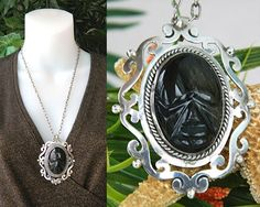 Vintage Mexico Sterling Silver Face Pendant Obsidian Torres