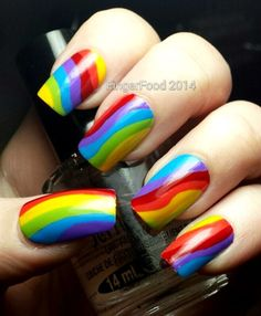 NAILS Mag Day 19 - Rainbow by fingerfood from Nail Art Gallery Funky Nails, Love Nails, Beautiful Nail Art, Gorgeous Nails, Rainbow Nail Art, Rainbow Colors, Bright Nail Art, Nails 2014, Nail Art Pictures