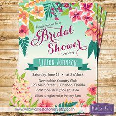 Tropical Bridal Shower Invitation  Island by WillowLaneStationery