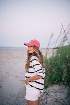 Gal Meets Glam Sunrise On Sullivan's Island - Toss sweatshirt, J.Crew tee and shorts and Tuckernuck hat