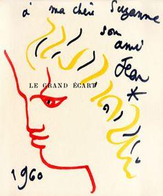 Cocteau Jean : Dessin original : Profil d'Orphée
