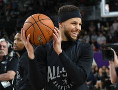 Stephen Curry of Team Curry practices for the 2018 NBA AllStar game at the Verizon Up Arena at LACC on February 17 2018 in Los Angeles California...