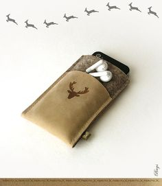 iPhone sleeve BAVARIAN DEER german wool felt and leather wallet and sleeve for your iPhone