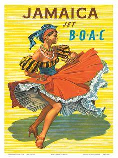 British Overseas Airways Corporation: Jamaica - Jet BOAC, c.1950s Art Print at AllPosters.com