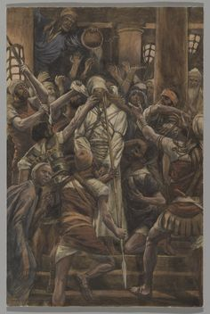 """Then the high priest tore his robes and said,""""He has blasphemed! What further need have we of witnesses? You have now heard the blasphemy;what is your opinion?""""They said in reply,""""He deserves to die!""""Then they spat in his face and struck him,while some slapped him,saying,""""Prophesy for us,Messiah:who is it that struck you?""""_Matthew 26:65-68 // The Life of Our Lord Jesus Christ: Maltreatments in the House of Caiaphas / Maltrato en la casa de Caifás // 1886-1894 // James Tissot // Brooklyn…"""